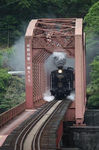 人吉号 第一球磨川橋梁で